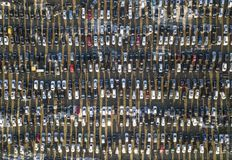 Aerial drone image of many cars parked on parking lot, top view.  stock images