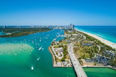 Beautiful day in Hauloer Park Miami Beach. Aerial drone image of Miami Beach Haulover Park scenic landscape royalty free stock photos