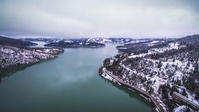 Aerial drone image of Plastiras lake and dam. stock photos