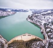 Aerial drone image of Plastiras lake and dam stock photography