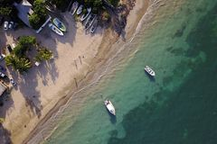 Salem Paradise Beach, Jamaica. Aerial drone image of Salem Paradise Beach, a beautiful public beach in Salen, northern Jamaica Stock Images