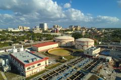 Aerial drone image water purification plant West Palm Beach Flor. Aerial image water purification plant West Palm Beach Florida USA Royalty Free Stock Photos