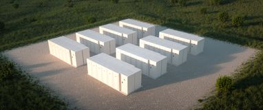 Free Aerial Drone Isometric View On Renewable Energy Battery Storage Facility. Royalty Free Stock Photos - 160098938