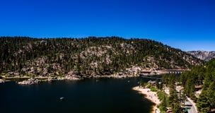 Aerial, Drone Landscape Over Big Bear Lake, California royalty free stock photo