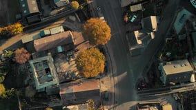 Aerial drone pan over village in Peak District, UK stock footage