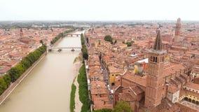 Drone city river old castle village