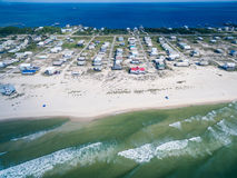 Aerial Drone Photo - Beaches of Gulf Shores / Fort Morgan Alabama. Amazing drone photograph of the pristine white sand beaches of Fort Morgan / Gulf Shores royalty free stock image