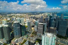 Aerial image of Brickell Miami FL royalty free stock photo