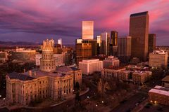 Aerial drone photo - City of Denver Colorado at sunrise royalty free stock photography