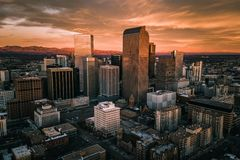 Aerial drone photo - City of Denver Colorado at sunrise. A beautiful drone photo of Denver Colorado skyline at sunrise stock photo