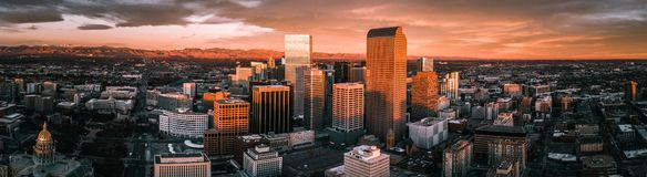 Aerial drone photo - City of Denver Colorado at sunrise stock photo