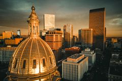 Aerial drone photo - City of Denver Colorado at sunrise stock images