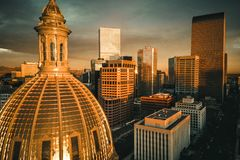 Aerial drone photo - City of Denver Colorado at sunrise royalty free stock photos