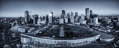 Aerial drone photo - City skyline of Denver Colorado at sunset stock images