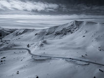 Aerial Drone Photo - Colorado Rocky Mountains full of fresh snow after a winter blizzard Royalty Free Stock Photo