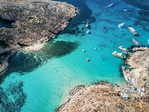 Drone photo - The beautiful Blue Lagoon of Comino Island. Malta. Aerial drone photo - The famous Blue Lagoon in the Mediterranean Sea. Comino Island, Malta royalty free stock photography