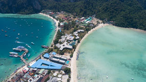 Aerial drone photo of iconic tropical beach and resorts of Phi Phi island Royalty Free Stock Photography