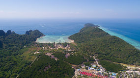 Aerial drone photo of iconic tropical beach and resorts of Phi Phi island Stock Photography