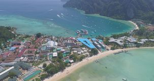 Aerial drone photo of iconic tropical beach and resorts of Phi Phi island Stock Images