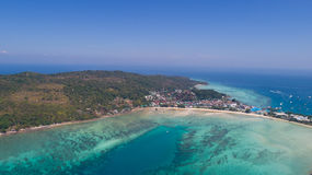 Aerial drone photo of iconic tropical beach and resorts of Phi Phi island Stock Image