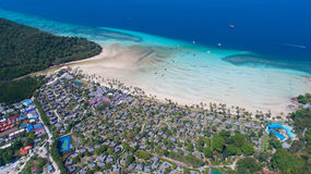 Aerial drone photo of iconic tropical beach and resorts of Phi Phi island Royalty Free Stock Photos