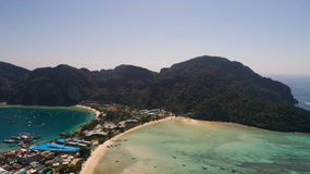 Aerial drone photo of iconic tropical beach and resorts of Phi Phi island. Thailand Stock Photo