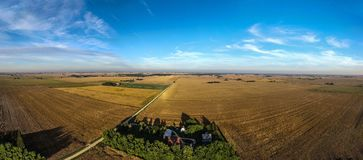 Aerial drone photo - Illinois cornfields and farm royalty free stock photography