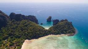 Aerial drone photo of Loh Lana Bay and Nui Bay beach, part of iconic tropical Phi Phi island Royalty Free Stock Photography