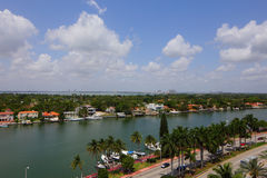 Aerial drone photo Miami. Aerial photo of Miami Beach and the intracoastal waterway Stock Photography