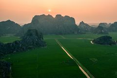Aerial drone photo - Mountains and rice fields of North Vietnam at sunset. royalty free stock image