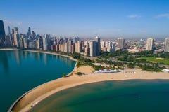 Aerial image north Avenue Beach Chicago. Aerial drone photo of the North Avenue Beach in Chicago Stock Photos