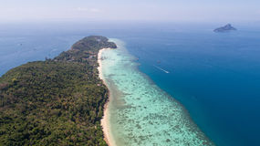 Aerial drone photo of nothern east part of iconic tropical Phi Phi island Stock Photo