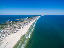 Aerial Drone Photo - Ocean & Beaches of Gulf Shores / Fort Morgan Alabama. Beautiful Drone photograph of the beaches of Gulf Shores / Fort Morgan, Alabama stock image