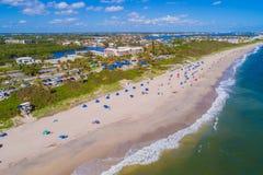 Aerial image Oceanfront Beach Park Boynton Florida. Aerial drone photo of the Oceanfront Beach Park Boynton Florida Stock Photos