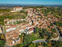 Free Aerial Drone Photo Of Guarene Castle And City In Northern Italy, Langhe And Roero Region Royalty Free Stock Images - 130363699