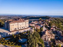 Free Aerial Drone Photo Of Guarene Castle And City In Northern Italy, Langhe And Roero Region Royalty Free Stock Images - 130364379