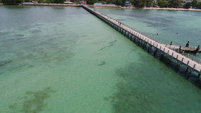 Aerial drone photo of pier on Rawai beach in Phuket Royalty Free Stock Photography