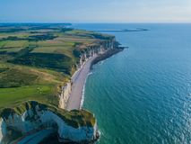 Aerial drone photo of the pointed formation called L`Aiguille or the Needle and Porte d`Aval at Etretat, north western stock photos