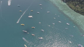 Aerial drone photo of sailing boats and yachts in the bay of iconic tropical Phi Phi island Stock Photography