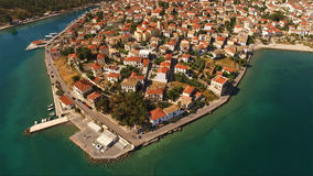 Aerial drone photo of Galaxidi village, on a summer morning, Fokida, Greece stock images