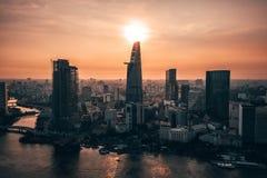Aerial drone photo - Skyline of Saigon Ho Chi Minh City at sunset. Vietnam royalty free stock photo