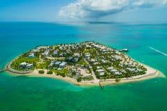 Aerial Sunset Island Key West Florida turquoise. Aerial drone photo of Sunset Island Key West Florida USA stock photo