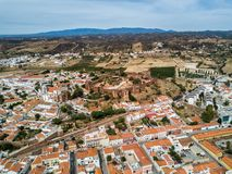 A drone photo of the medieval Silves Castle.  Algarve region, Portugal. Aerial drone photograph of the Silves Castle.  A medieval fortress built by the Moorish stock photos