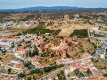 A drone photo of the medieval Silves Castle.  Algarve region, Portugal. Aerial drone photograph of the Silves Castle.  A medieval fortress built by the Moorish royalty free stock photos