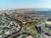 Aerial drone photography Almerimar townscape, Almeria province. Andalucia, Spain. Aerial wide drone point of view photography Almerimar townscape with royalty free stock image