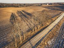 Aerial Drone Photography of a Road in Sunny Winter Day - vintage royalty free stock photos