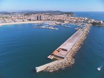 Aerial drone picture from small town Palamos from Spain, in Costa Brava stock photos