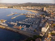 Aerial drone picture from small town Palamos from Spain, in Costa Brava royalty free stock images