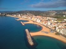 Aerial drone picture from small village Sant Antoni de Calonge from Spain, in Costa Brava royalty free stock images