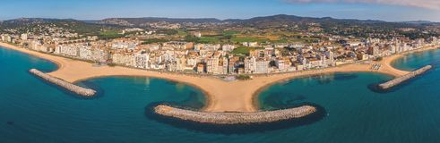 Aerial drone picture from small village Sant Antoni de Calonge from Spain, in Costa Brava stock images
